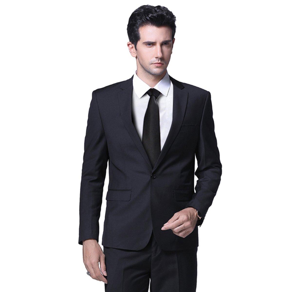 Mens One Button Formal 2 Piece Suits Slim Fit Multi-Color Wedding Tuxedo