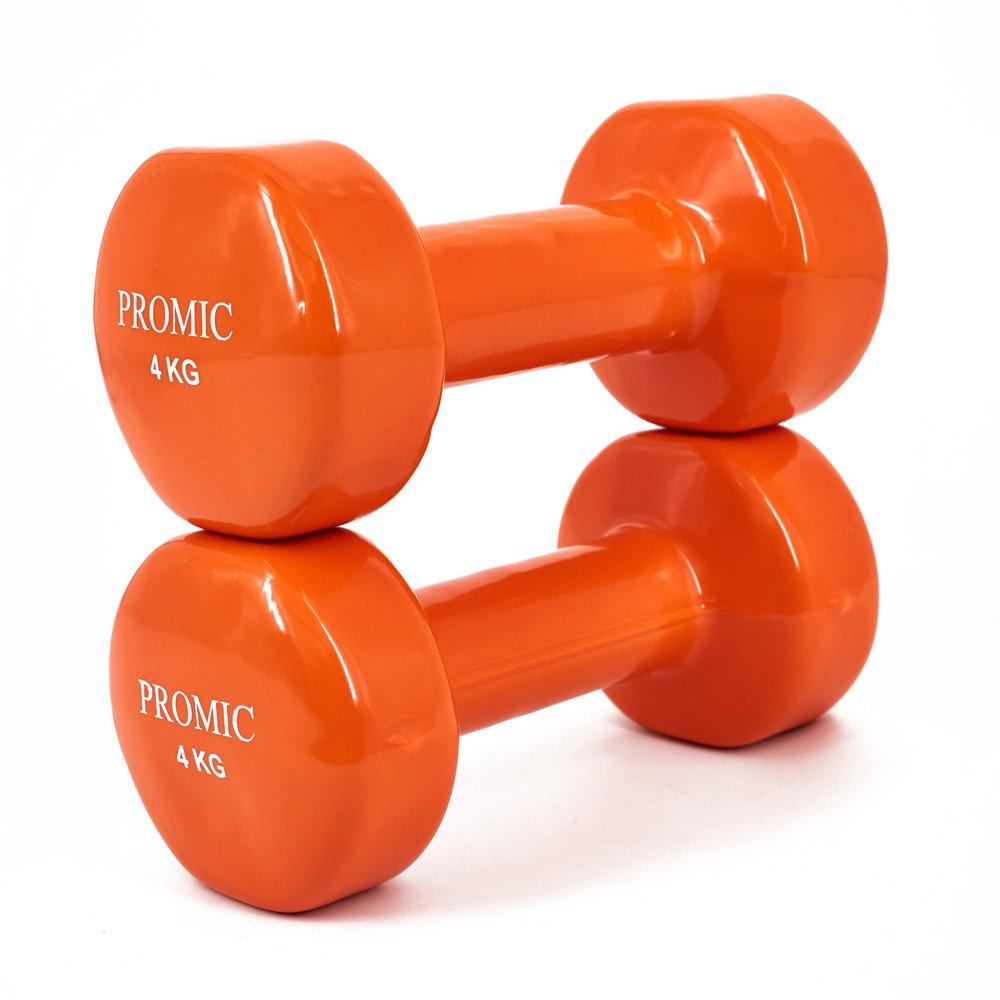 Promic 0,5 kg – 10 kg pesas de mano deluxe, sólido, con revestimiento de vinilo, mancuernas con agarre antideslizante, para ejercicios de fitness, ...