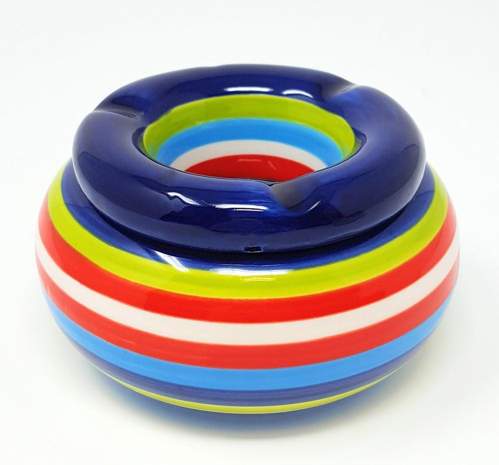 Rigato di Blu com-four/® posacenere in Ceramica 2X 02 Pezzi - Blu 10,5 x 6,5 cm