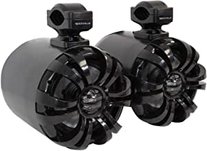 "(2) Rockville WB65 Black 6.5"" 600w Metal Marine Wakeboard Swivel Tower Speakers"