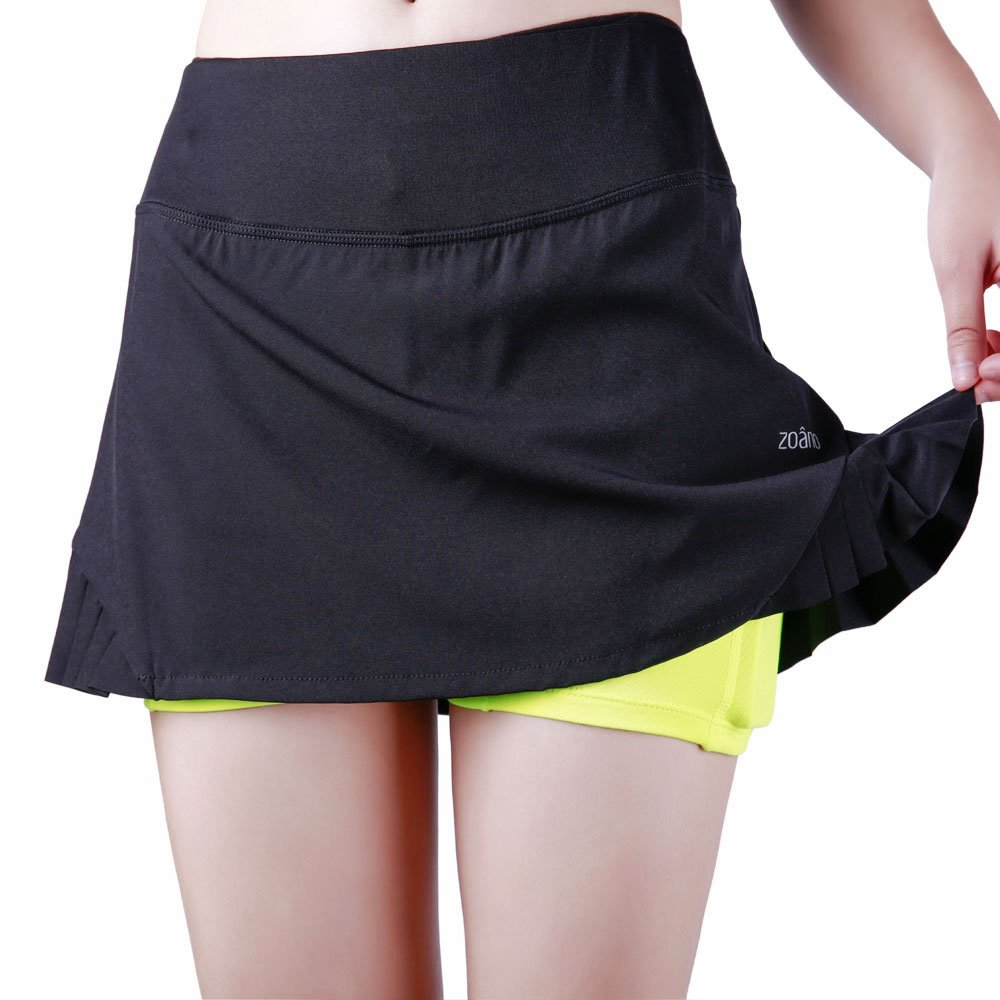 ZOANO Women's Tennis Skirt Athletic Skort with Pockets for Running Golf Workout(BLACK,M/8)