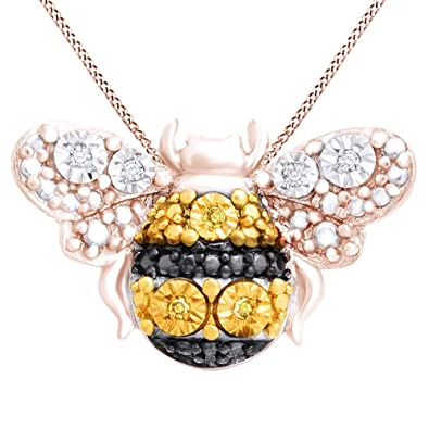 216a58d92601df Amazon.com: Jewel Zone US White & Yellow Natural Diamonds Petite Bumblebee  Pendant Necklace 14K Rose Gold Over Sterling Silver: Jewelry