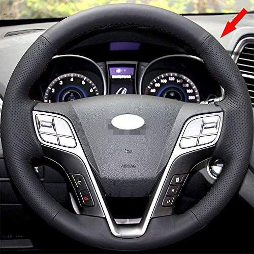 Eiseng Sew DIY Genuine Black Leather Car Steering Wheel Cover for 2013 2014 2015 2016 2017 Hyundai Santa Fe 4dr SUV Interior Accessories 15 inches (Black (4dr Steering)