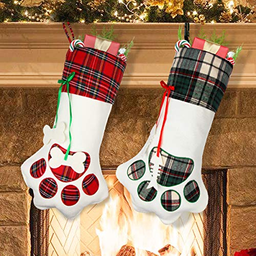 Aiduy Pet Christmas Stocking, 18 Dog Paw Christmas Stockings Hanging Plaid Cat Xmas Stockings for Christmas Decorations and Holiday Decor, 2 Pack
