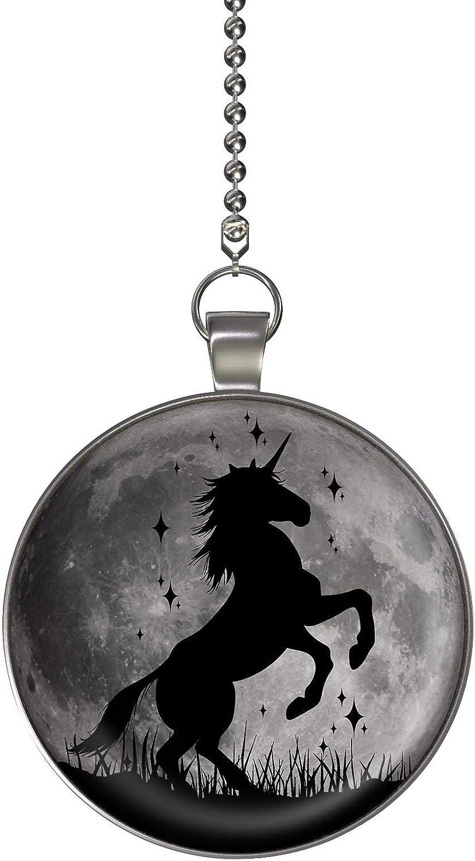 Unicorn Magic Moon Glow in the Dark Fan/Light Pull Pendant with Chain