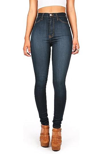 4c6da97644a8 Vibrant Womens Juniors Classic High Waist Denim Skinny Jeans 1 Dark Denim  at Amazon Women's Jeans store