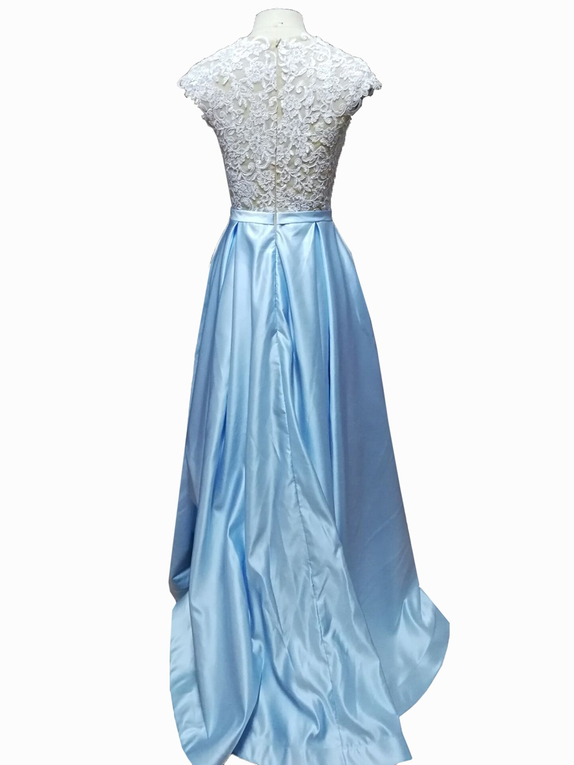 Fanmu Cap Sleeve A Line Lace Satin Prom Dresses Evening Gowns at ...