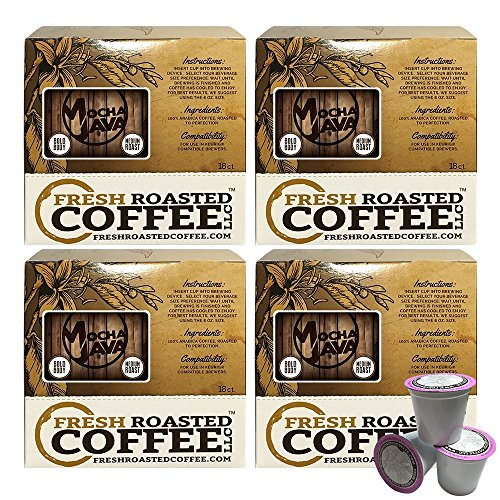 Fresh Roasted Coffee LLC, Mocha Java Coffee Pods, Artisan Blend, Medium Roast, Capsules Compatible with 1.0 & 2.0 Single-Serve Brewers, 72 ()