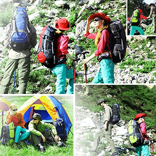 Vbiger Mochilas Impermeable 65+5L per Alpinista Senderismo Viajes (Rojo) Rojo