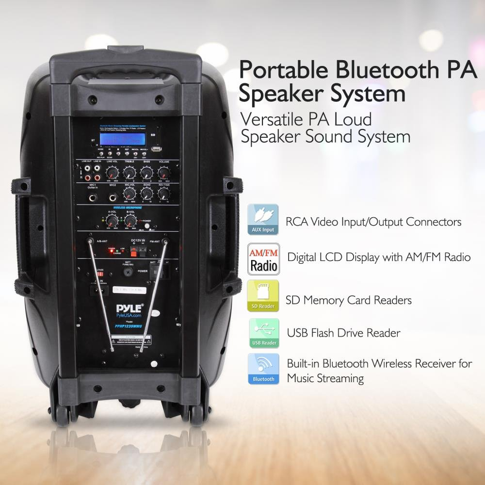 Pyle 1000 Watt, 12'' Bluetooth PA Speaker - Indoor / Outdoor Portable Sound System with (2) UHF Wireless Microphones, Rechargeable Battery, Audio Recording, USB/SD Readers, FM Radio (PPHP1235WMU) by Pyle (Image #5)