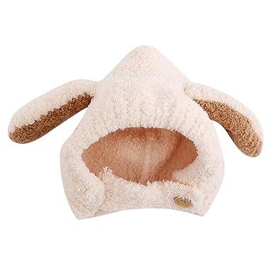 9fe29da3fc5 Amazon.com  Children Baby Hat Thicken Stitching Rabbit Ears Hat ...