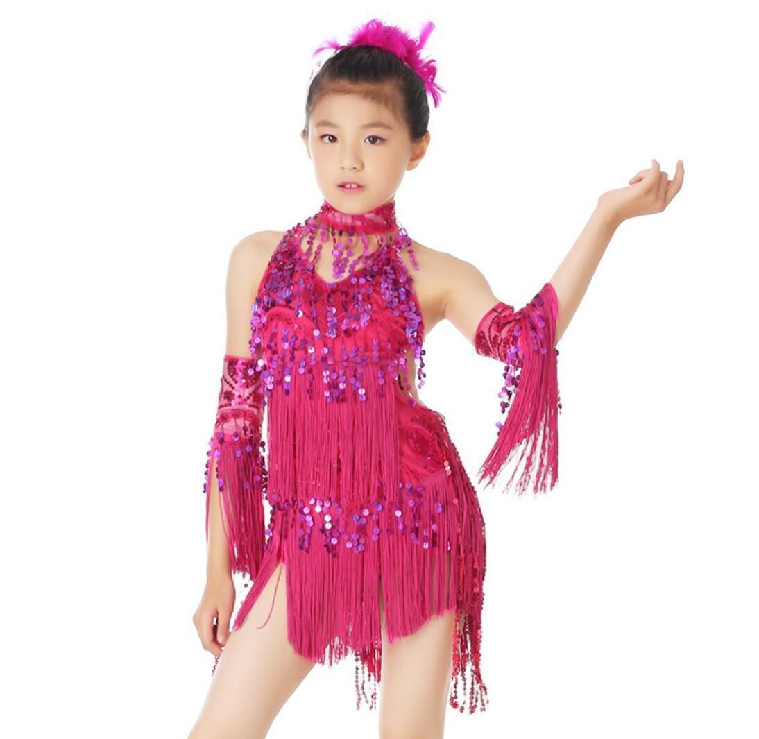Rose rouge Vêtements de Danse Latine pour Enfants Robe de Danse Latine pour Enfants Gland de Danse Latine Concours de Danse Rouge Rose Rouge Jaune   Bleu XL