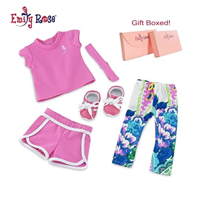 "Emily Rose 18 Inch Doll Clothes for American Girl Dolls | Doll Mix and Match Exercise Outfit, Including Pink Doll Sneakers! | Fits 18"" American Girl Dolls: Toys & Games"