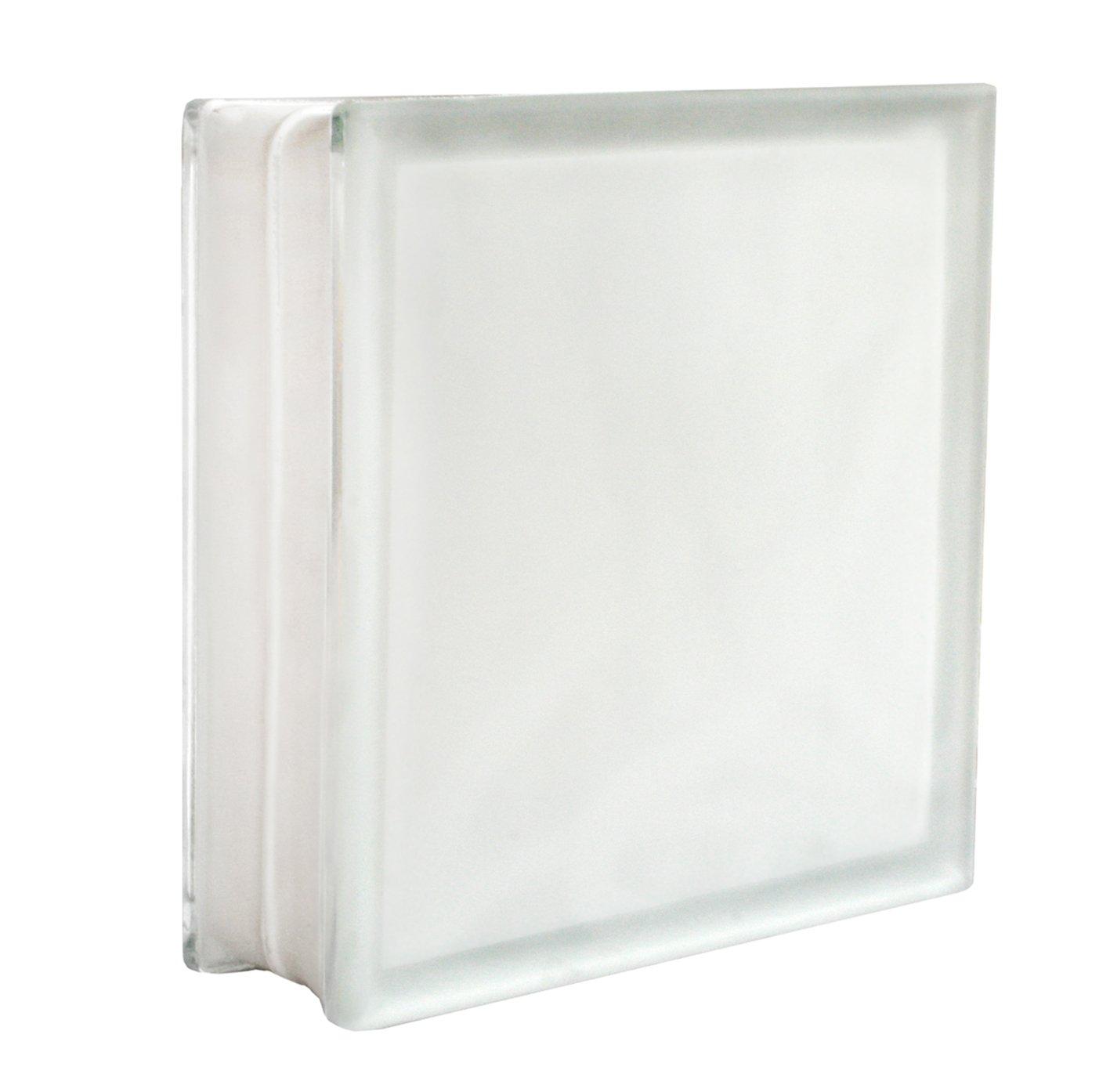 2 piezas FUCHS bloques de vidrio vista completa blanco satinado por dos lado (vidrio mate) 30x30x10 cm Fuchs Design