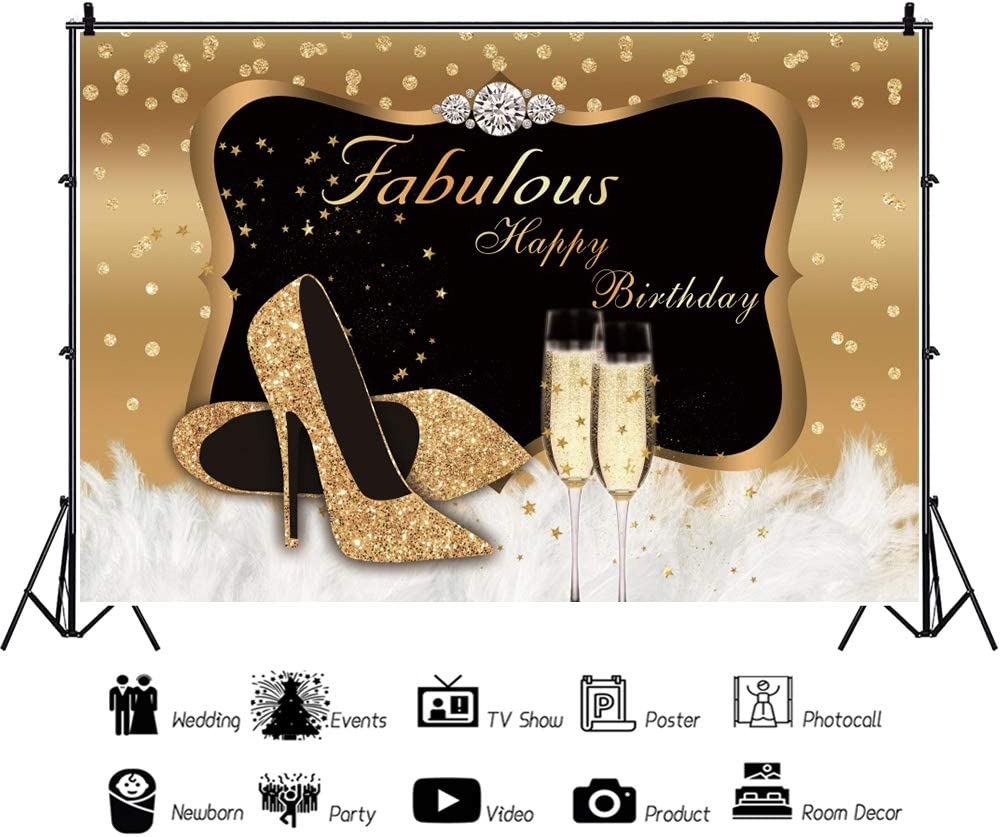 YEELE Diamond Birthday Party Backdrop 10x8ft Golden High Heel with Champange Girls Birthday Party Photography Background Lady Woman Portrait Party Table Decoration Photobooth Props Digital Wallpaper