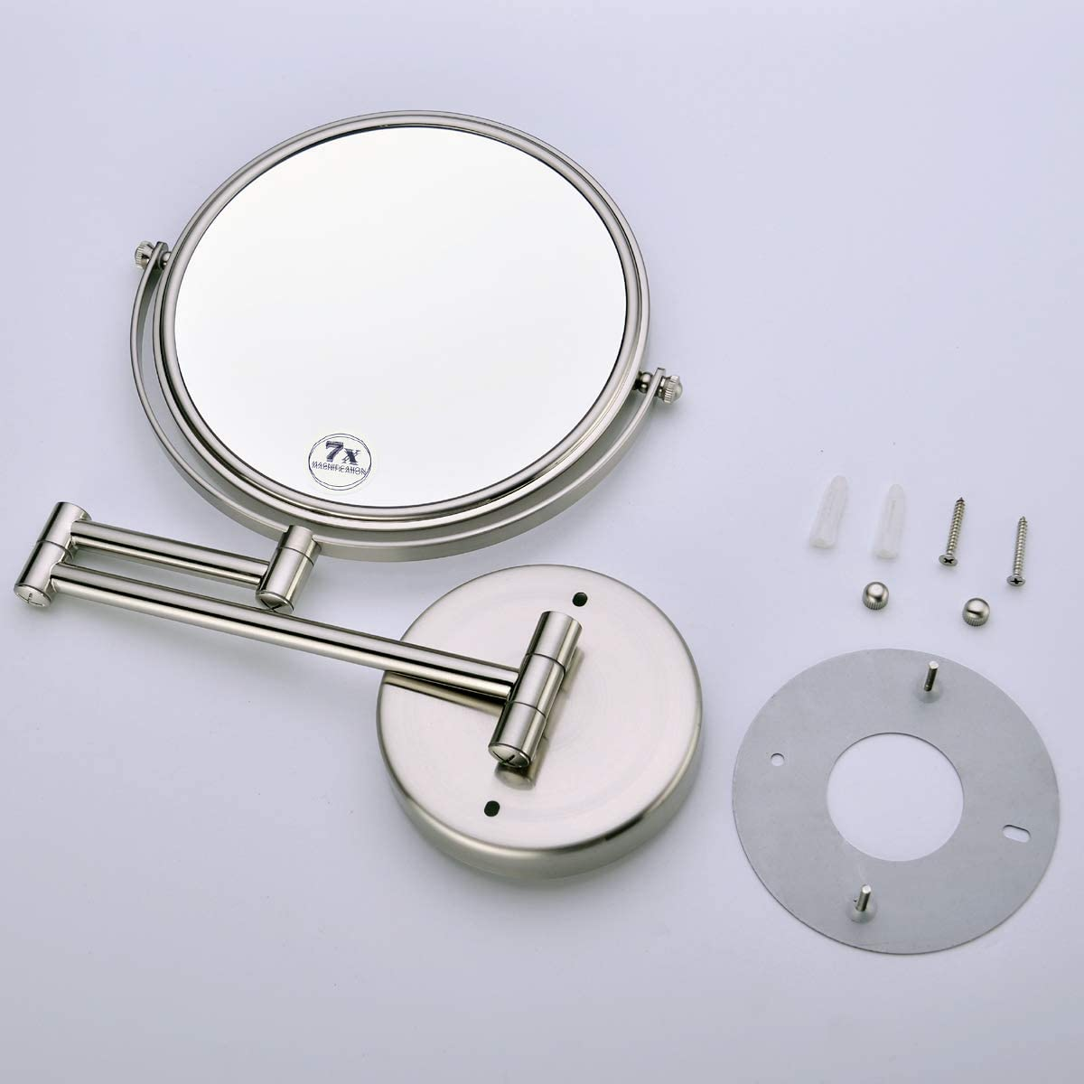Brushed Nickel Anpean Wall Mounted Makeup Mirror 10x Magnification with 8 Inch Two Sided Swivel