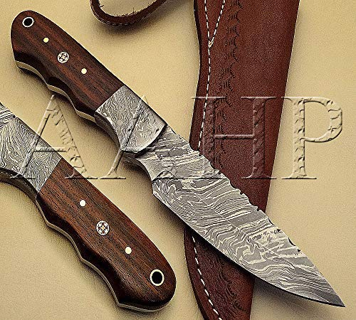 - AAHP - 61, 9 Inches Handmade Damascus Skinner Knife with Approx 4.625 inch Blade Made of 100% Real Damascus Steel, Approx 4.375 inch Natural Wood with Mosaic & Brass Pins & Pipe