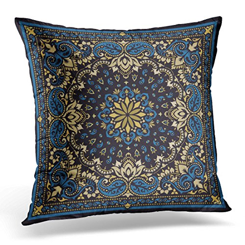 Ornamental Silk Square Scarf - DTTOT Throw Pillow Cover Vintage Bandanna Paisley Bandana Silk Neck Scarf Kerchief Pattern Design Style for Floral Abstract Decorative Pillow Case Home Decor Square 20x20 Inches Pillowcase