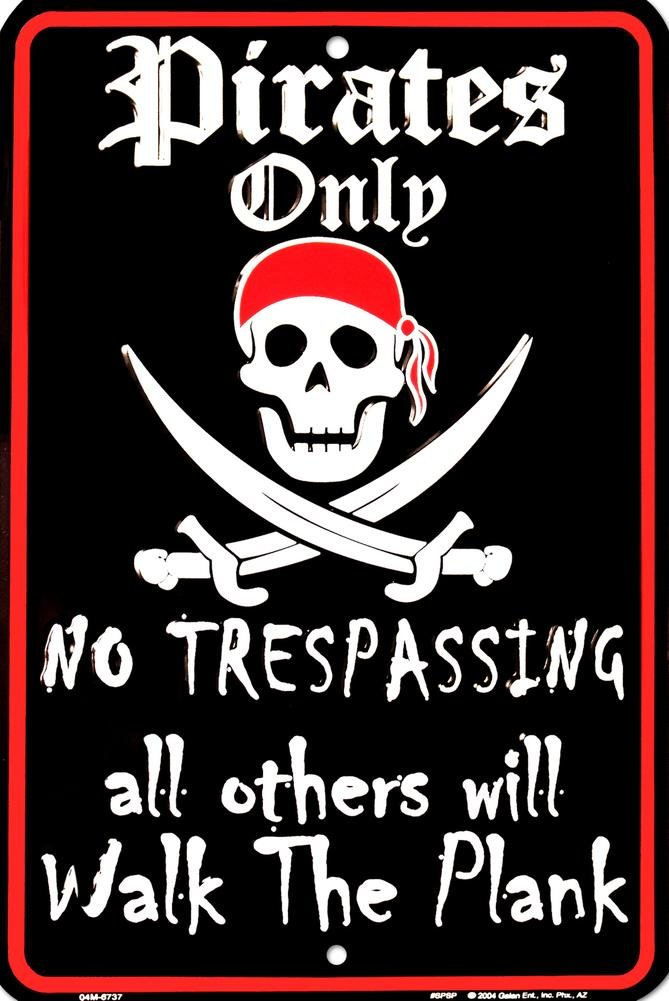 Pirates Only No Trespassing All Others Will Walk the Plank and Jolly Roger with Eyepatch Single Lapel Pin
