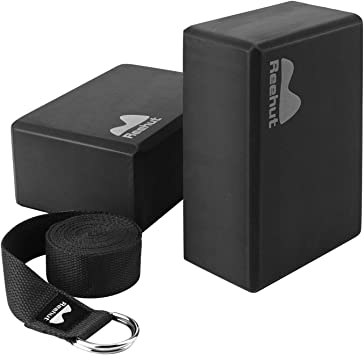 REEHUT Yoga Block (2 PC) and Metal D Ring Yoga Strap(1 PC) Combo Set, 9