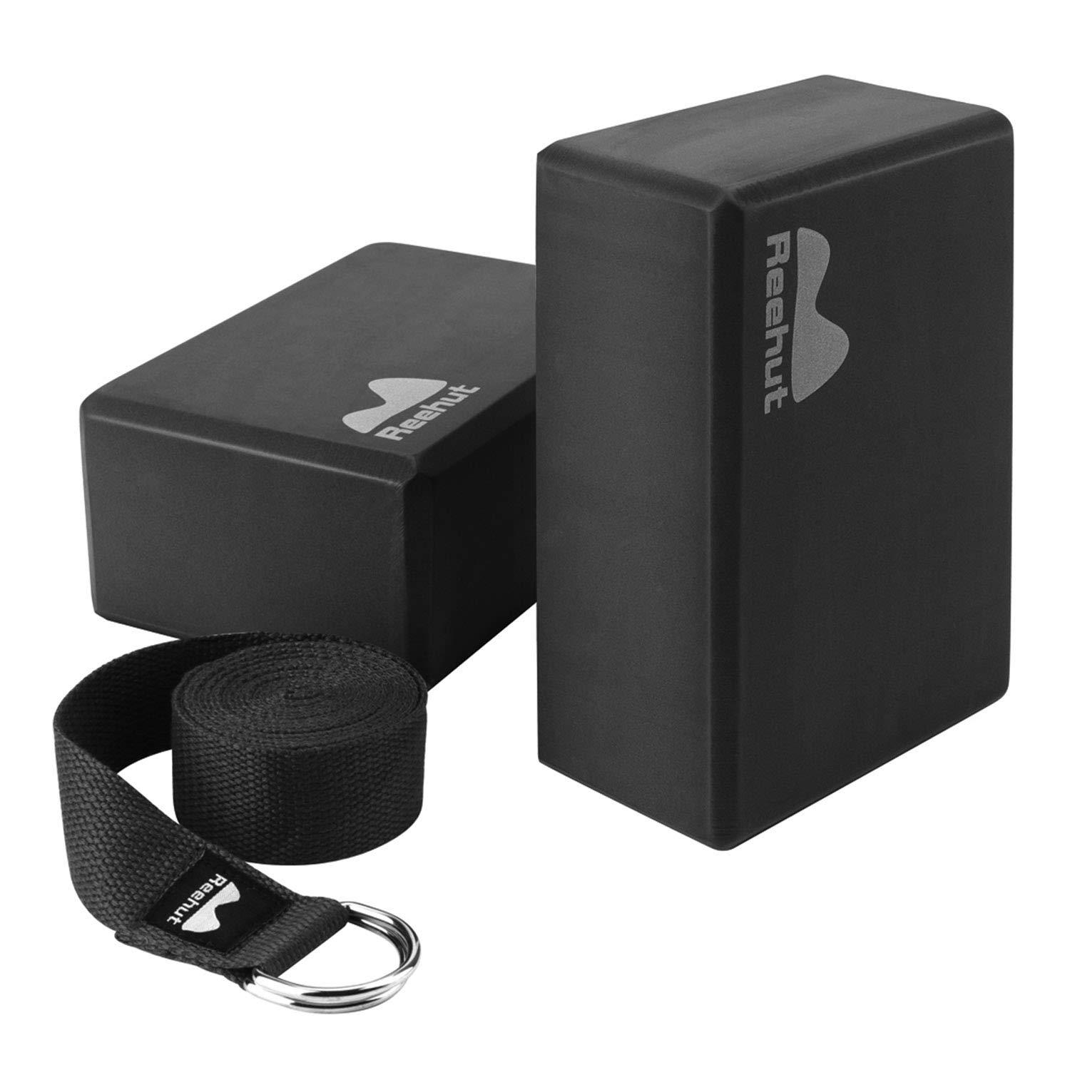REEHUT Yoga Block (2 PC) and Metal D Ring Yoga Strap(1 PC) Combo Set, 9'' x 6'' x 4''High Density EVA Foam Block to Support and Deepen Poses, 8FT Yoga Belt for Stretching, General Fitness Black by REEHUT