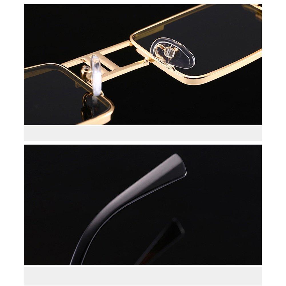 Amazon.com: Steampunk rectangular anteojos de sol Hombre Oro ...