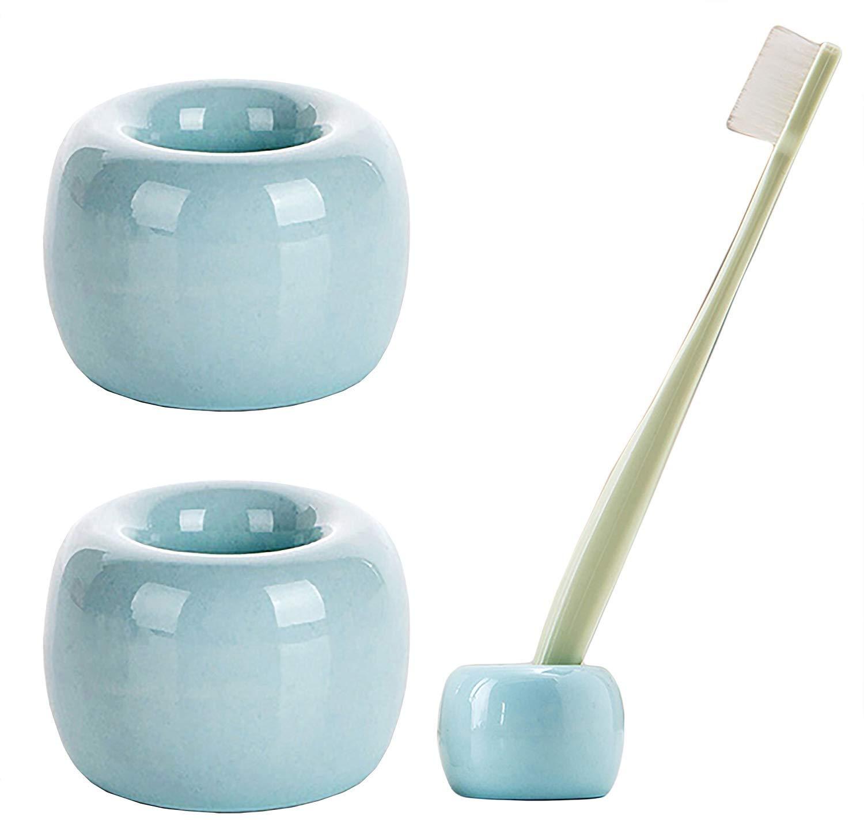 Amazon.com: AUCH Set of 3 Mini Toothbrush Holder/ Ceramic Tooth ...