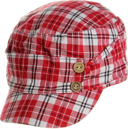 LL Women's Spring Summer Plaid Cadet Caps - Red by AN1225