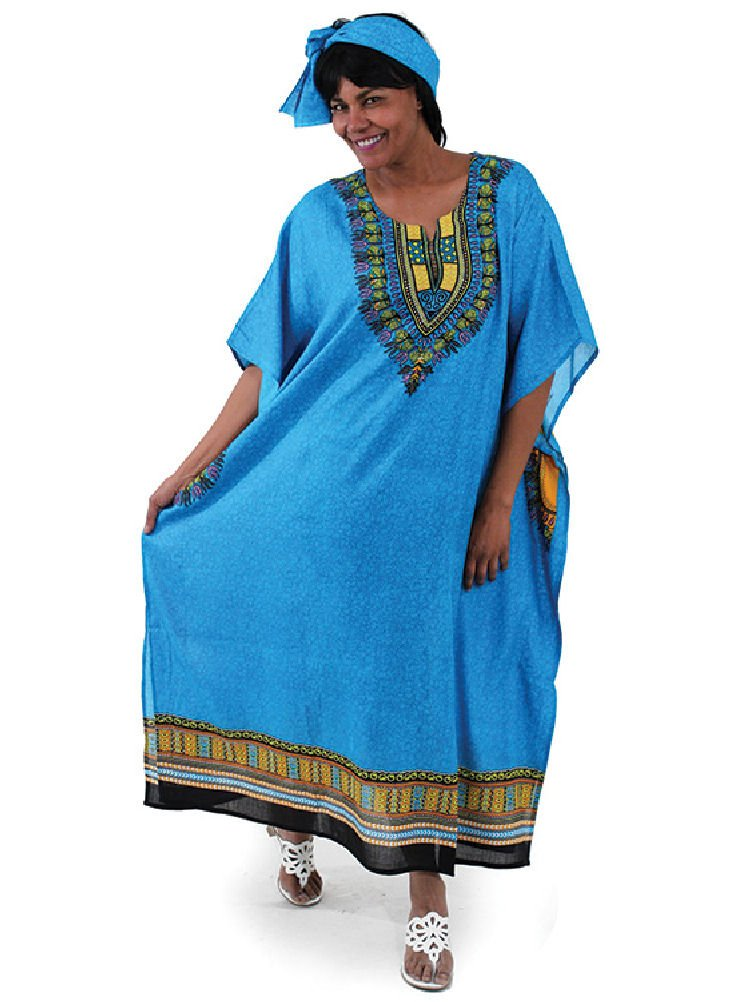 One Size Traditional Kaftan Caftan - Many Colors Available (Light Blue)