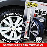 White tire marker and black Correction pen set Universal Waterproof Permanent oil based Paint Markers Car Tyre Tire Tread Rubber
