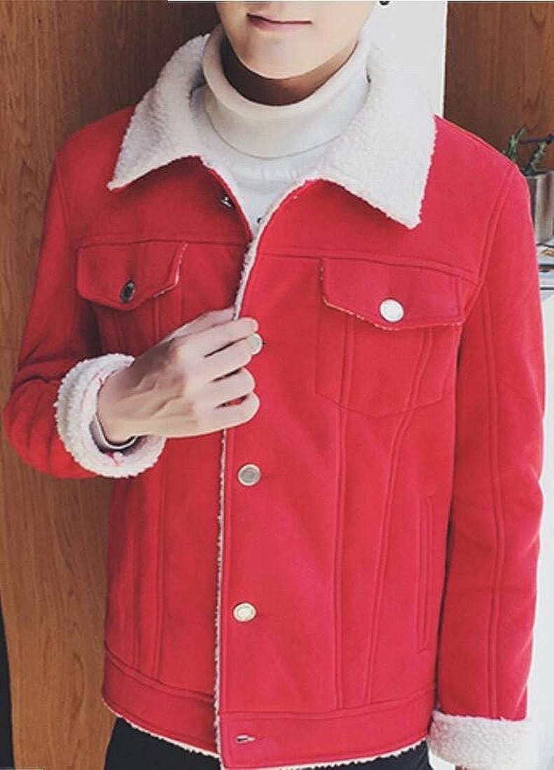 Alion Mens Lapel Button Up Loose Warm Classic Pure Parka Jacket