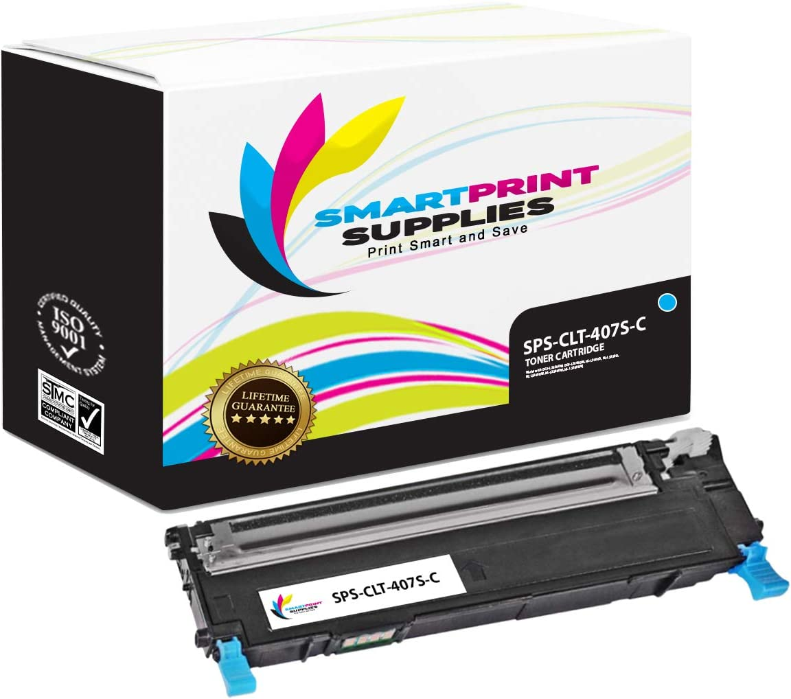1000 Pages CLX3185 3186 Printers Smart Print Supplies Samsung CLT-C407S Cyan Compatible Toner Cartridge Replacement for CLP-320 321 325