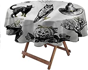 """carmaxsHome Outdoor Round Tablecloth Vintage Halloween for Picnic Party Patio Table Camping Raven Owl Spider 60"""" Round"""