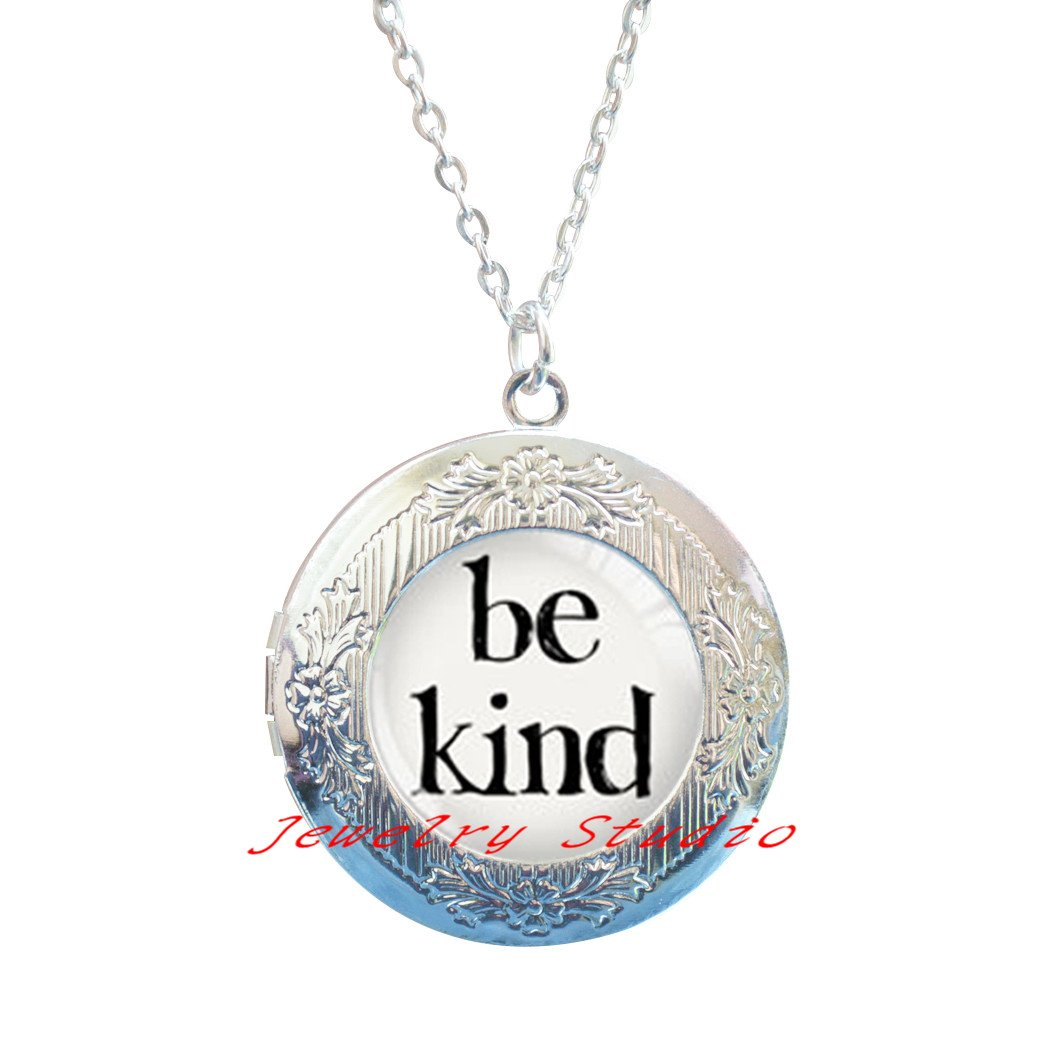 Charming fashion Locket Necklace,Be Kind quote Locket Necklace /· quote Locket Pendant /· silver Locket Pendant /· gift for her /·quote Locket Pendant Locket Necklace /· quote Jewelry /· handmade-HZ0097