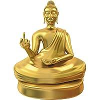 MostroMania - Statua Dorata di Buddha con Dito Medio - Buddha Offensivo - Accessorio Zen - Statuetta Divertente - Decorazione da Tavolo - Regali per Lui