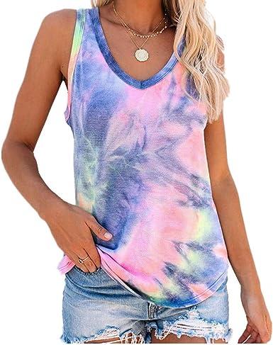 x8jdieu3 Camisa Verano Nuevo Cuello Redondo Casual Abstracto Tie-Dye Color Nube Sol Flor Chaleco Sin Mangas Camiseta Tops Mujer: Amazon.es: Ropa y accesorios