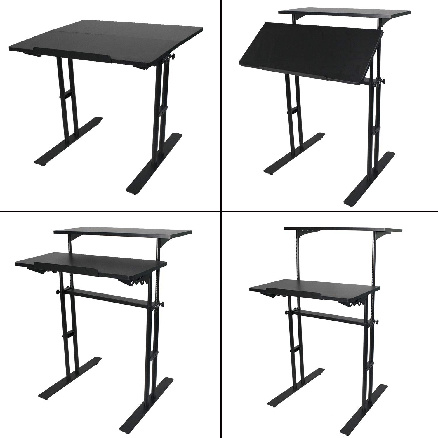 Heyesk Stand Up Desk Height Adjustable Home Office Desk with Standing (Black) by heyesk (Image #8)
