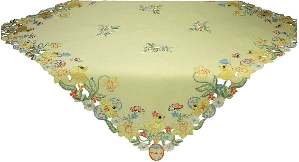 Xia Home Fashions Spring Baby Chicks Easter TableTopper, 34-Inch, Yellow