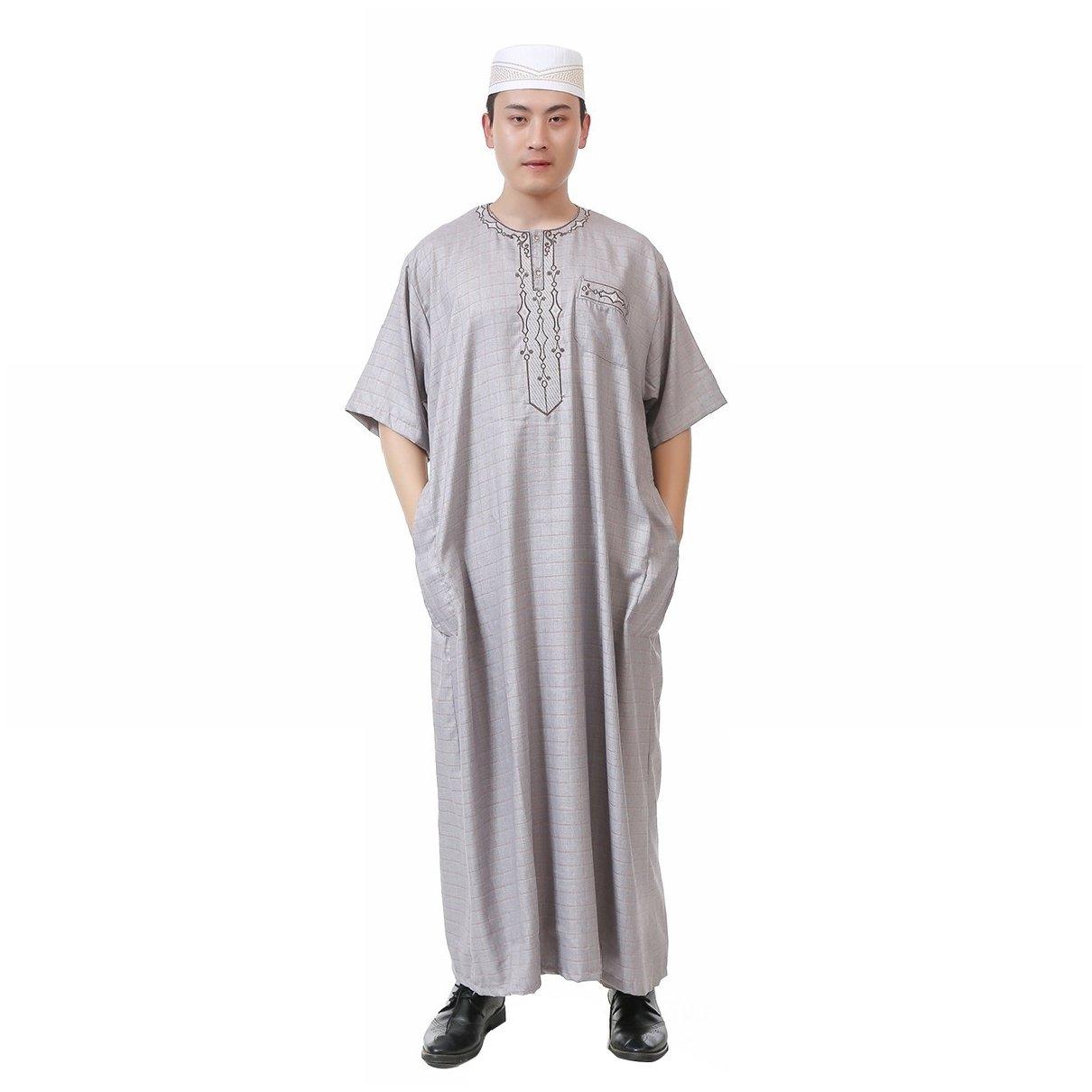Highisa Men's Cotton Linen Blend Crew-Neck Short-Sleeve Muslim Thobe Light Grey 56