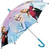 Ombrello Frozen Bambina - con stampa di Elsa e Anna - Ombrello Lungo antivento - Apertura di sicurezza - 3/6 anni - Azzurro - diametro 76 cm - Perletti