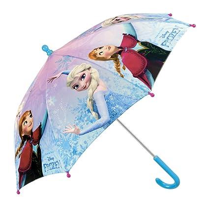 Paraguas Largo Disney Frozen Niña Estampado Elsa y Anna - Paraguas Clasico de Colores Resistente Antiviento de Moda - Apertura Manual Seguridad - 3-6 ...