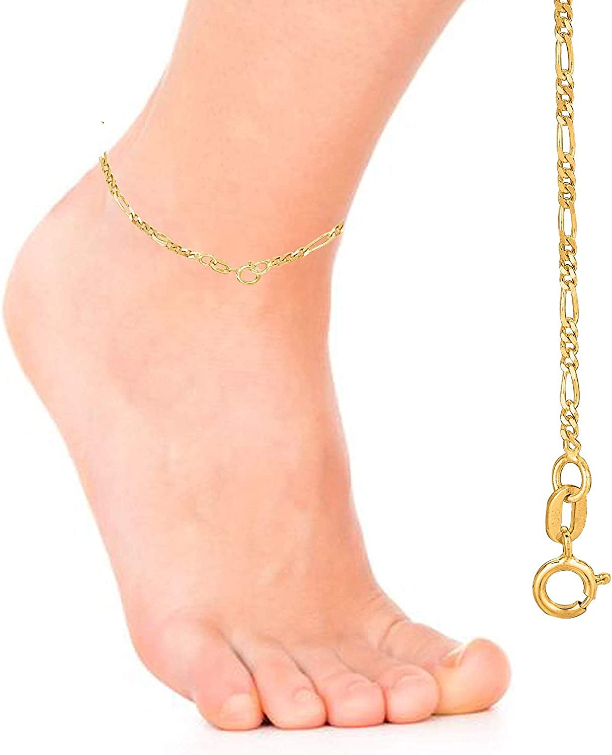 7, 10, 13, 16, 18, 20 or 24 inch 14K Yellow Or White Gold 1.9mm Diamond-Cut Alternate Classic Figaro Chain Necklace Or Bracelet//Foot Anklet for Pendants and Charms with Spring-Ring Clasp
