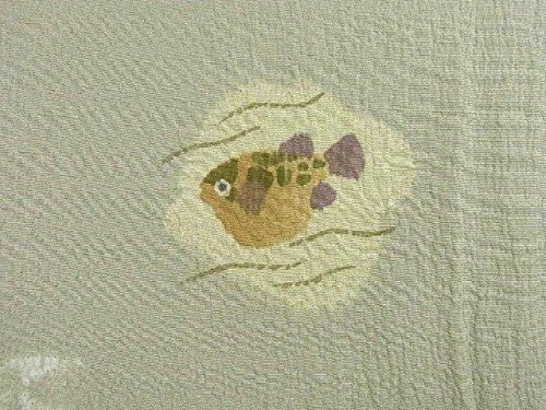 リサイクル 着物 小紋 ひとえ 飛び柄 蟹にふぐ 正絹 絞り 裄67.5cm 身丈163cm