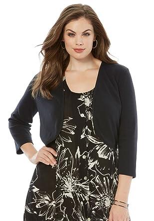 Roamans Women's Plus Size Cropped Bolero Cardigan at Amazon ...