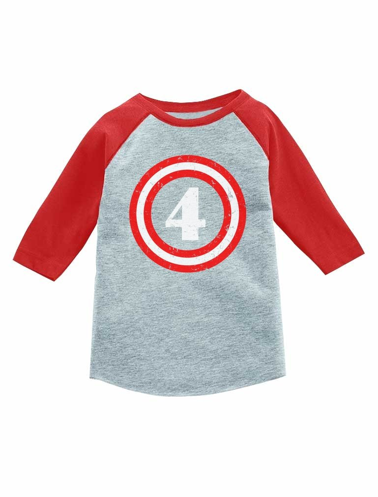 Tstars Captain 4th 4 Year Old Birthday Gift 3/4 Sleeve Baseball Jersey Toddler Shirt G0PMZhagm8