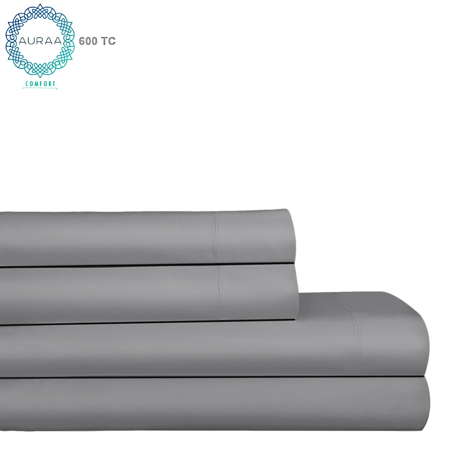 AURAA Comfort 600Thread Count 100% American Supima Long Staple Cotton Sheet Set,4 Pc Set, King Sheets Sateen Weave,Hotel Collection Soft Luxury Bedding,Fits Upto 18'' Deep Pocket,Charcoal