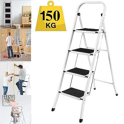 Folding Step Ladder Anti-Slip Safety Sturdy DIY Durable Aluminium VS Iron Frame