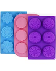 Molde de pastel de silicona con 3 moldes para pastel, moldes de flores FineGood para