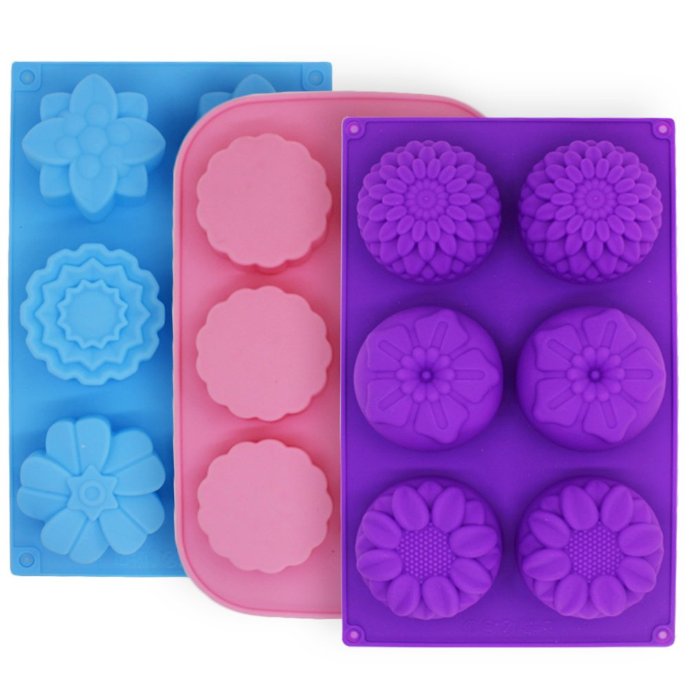 3 Pcs Cake Muffin Mooncake Silicone Molds, FineGood Flower-Shaped Pans for Making Jelly Pudding Cookies Chocolate, DIY Handmade Soap Trays, 6-Cavity - Purple, Blue, Pink 4336903023