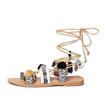 Sandalen Feifei Damenschuhe Hohe Qualität Material Sommer Flachboden Mode Krawatte Hausschuhe (größe : EU36/UK3.5/CN35)